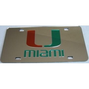 Miami Hurricanes Silver Laser License Plate