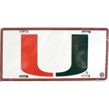 "Miami Hurricanes 'U"" License Plate"