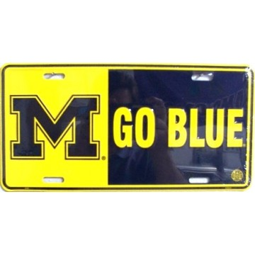 Michigan M Go Blue Metal License Plate