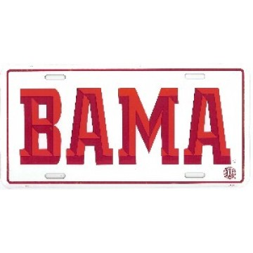 Alabama BAMA Embossed Aluminum License Plate
