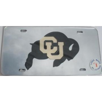 Colorado Buffaloes Silver Laser Cut License Plate