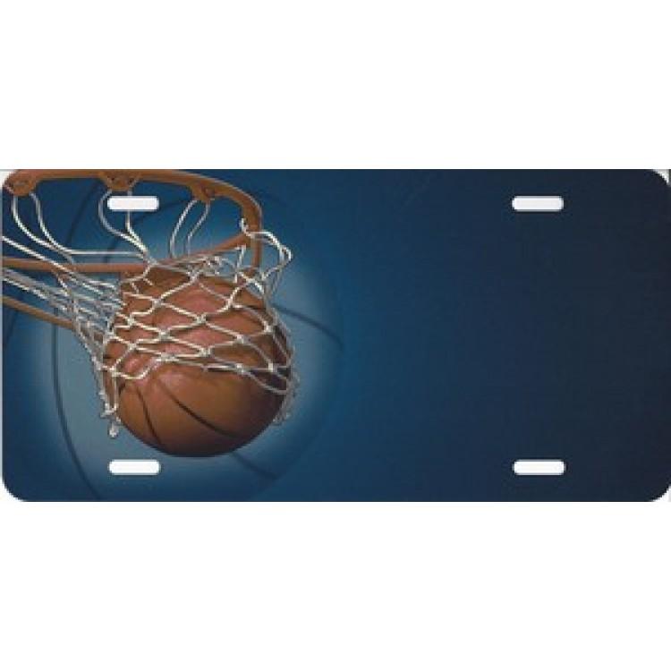 Basketball Hoop Offset On Blue License Plate