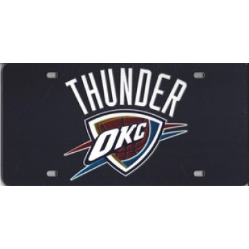 Oklahoma City Thunder Black Laser License Plate