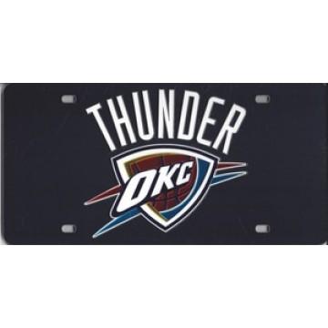 Oklahoma City Thunder Black Laser License Plate