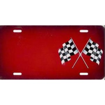 Checkered Flag Red Offset Airbrush License Plate