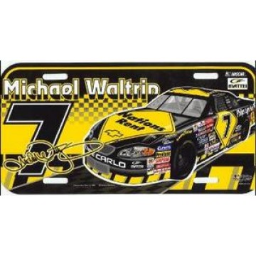 Michael Waltrip #7 Nascar Plastic License Plate