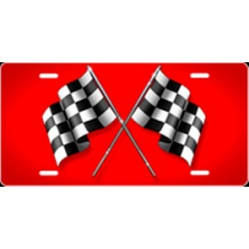 Checkered Flag Red Airbrush License Plate