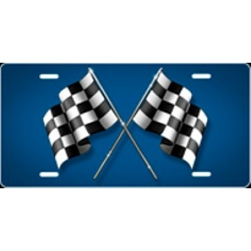 Checkered Flag Blue Airbrush License Plate