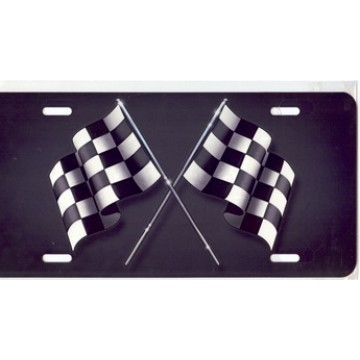 Checkered Flags On Gray Airbrush License Plate