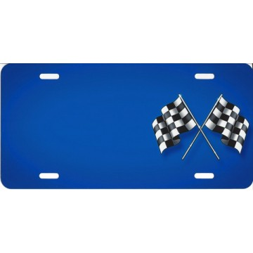 Checkered Flag Blue Offset Airbrush License Plate