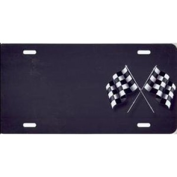 Checkered Flag Gray Airbrush License Plate