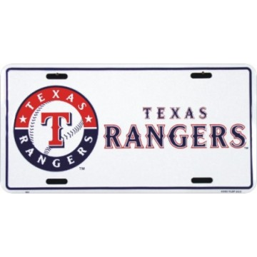 Texas Rangers Metal License Plate