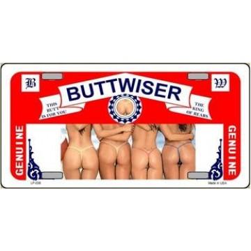 Buttwiser Beer Metal License Plate