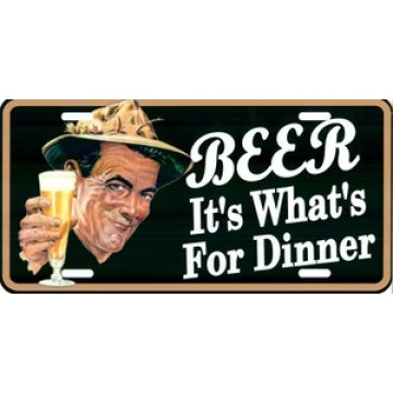 Beer It's Whats For Dinner Photo License Plate