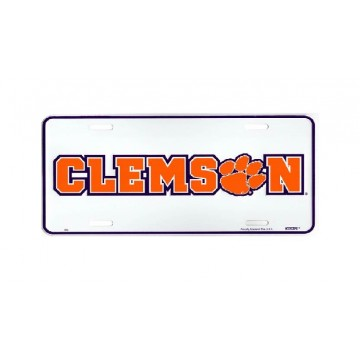 Clemson Tigers Paw Metal License Plate