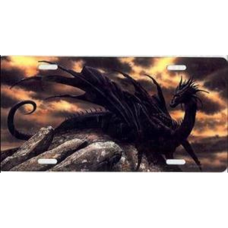 Dragon On Volcano Photo License Plate