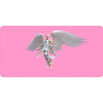 Angel On Pink Photo License Plate
