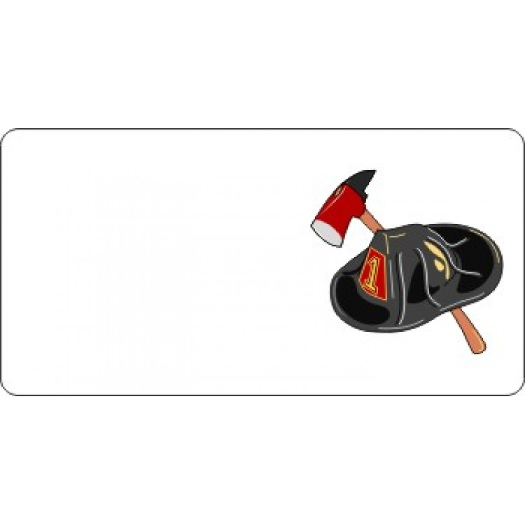 Offset Fire Fighter Helmet And Axe Photo License Plate