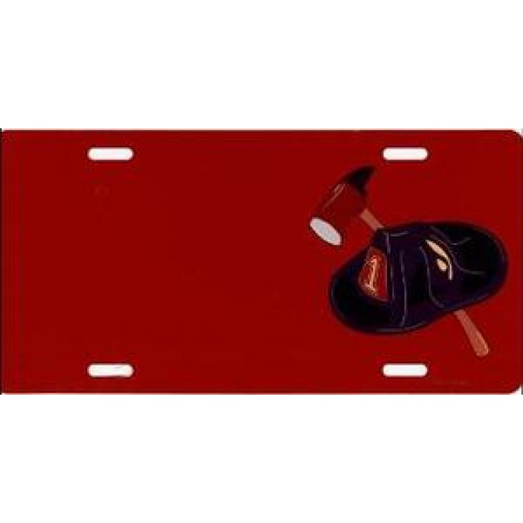 Offset Fire Fighter Helmet And Axe Red Photo License Plate