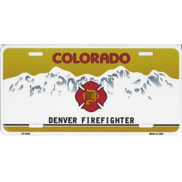 Colorado Denver Firefighter Metal License Plate