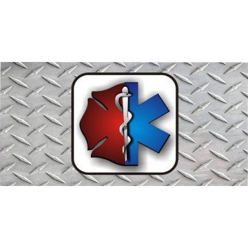 EMT And Firefighter Diamond Plate Photo License Plate