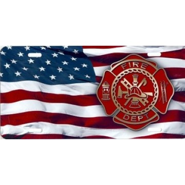 American Flag Firefighter Airbrush License Plate