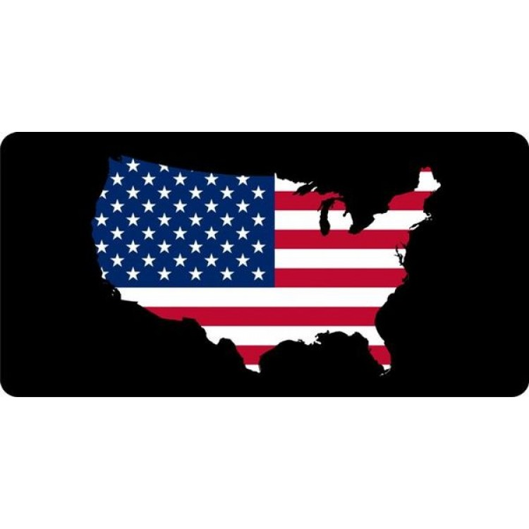 Flag Filled United States Photo License Plate