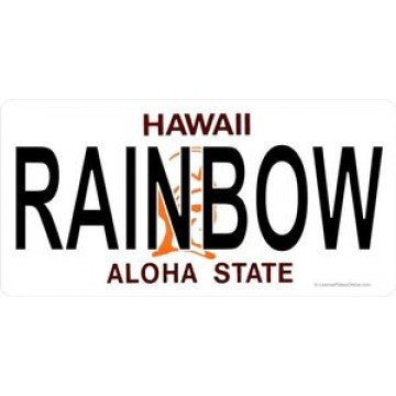 Hawaii Rainbow Photo License Plate