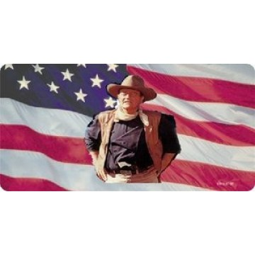 John Wayne On U.S. Flag Photo License  Plate