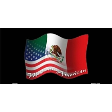 American And Mexican Mixed Flags Metal License Plate