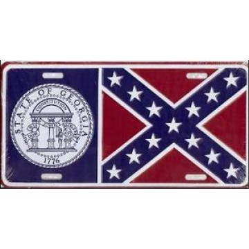 Georgia State Flag Metal License Plate