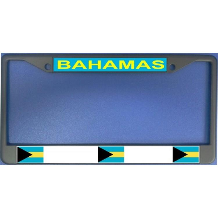 Bahamas Flag Chrome License Plate Frame