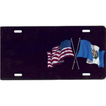 American And Guatemala Flag Offset Airbrush License Plate