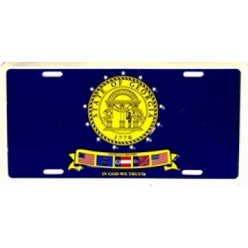 Georgia State Flag On Blue Metal License Plate