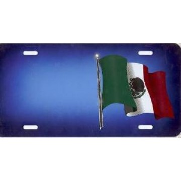 Mexican Flag On Blue Offset Airbrush License Plate