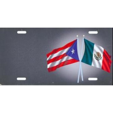 Offset Puerto Rico And Mexico Crossed Flags License Plate