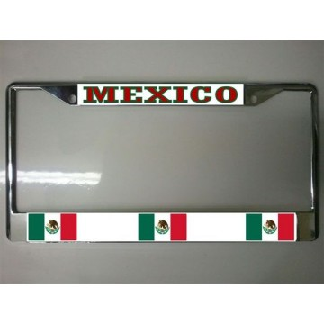 Mexico Flag Chrome License Plate Frame