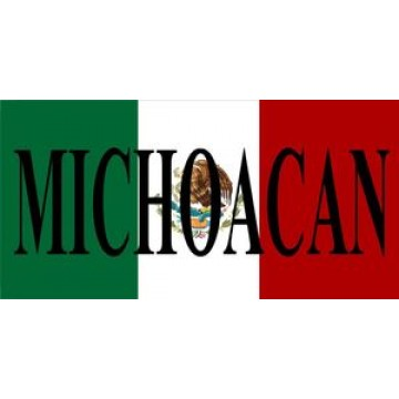 Mexican Flag With Michoacan Photo License Plate
