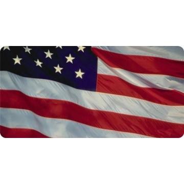 U.S. Flag Waving Photo License Plate