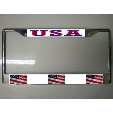 United States Flag Chrome License Plate Frame