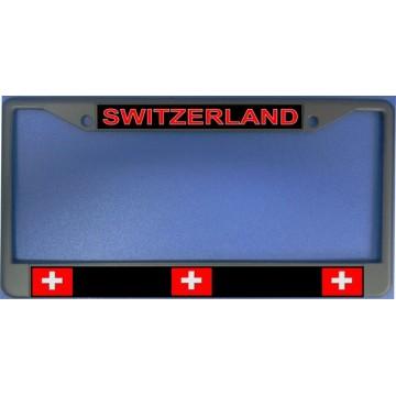 Switzerland Flag Chrome License Plate Frame