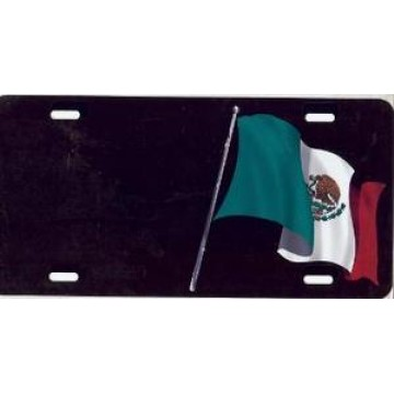 Mexican Flag Offset On Black Airbrush License Plate