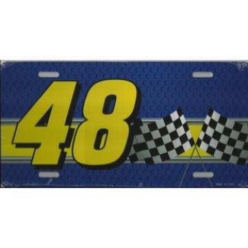 Racing #48 With Checkered Flags Metal License Plate