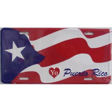 I Love Puerto Rico Flag Metal License Plate