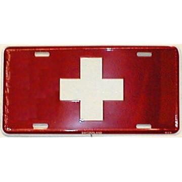 Switzerland Flag Metal License Plate