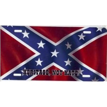 Rebel Flag Heritage, Not Hate Airbrush License Plate