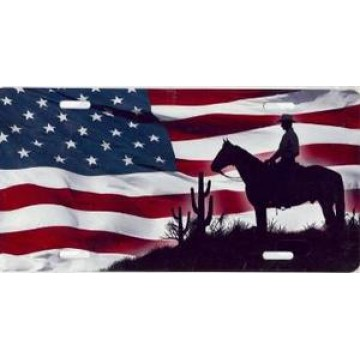 American Cowboy Airbrush License Plate