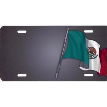 Mexican Flag On Gray Offset Airbrush License Plate
