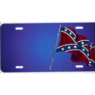 Offset Rebel Flag On Blue Airbrush License Plate