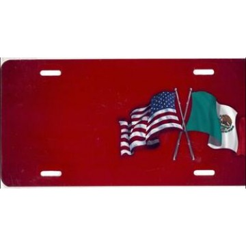 American And Mexican Flags Offset Airbrush License Plate